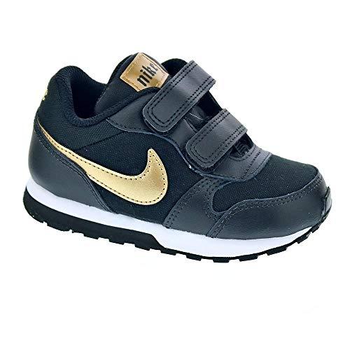 Nike MD Runner 2 VTB, Zapatillas de Trail Running para Niñas, Multicolor (Black/Metallic Gold/White 1), 25 EU