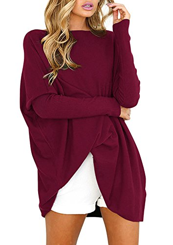 Yidarton Pull Femme Manches Longues Large Top Tunique Casual Mini Robe (Vin Rogue, X-Large)