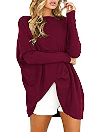 Yidarton Pull Femme Manches Longues Large Top Tunique Casual Mini Robe