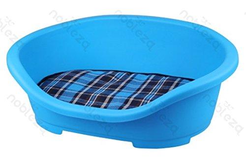 FORPET® 002641 Cuccia lettino rigido per cani con materasso, cuccia per cane con materasso, cuscino per animali, lettino per cane con cuscino, Azzurra con cuscino a scacchi 47.5x34x18cm