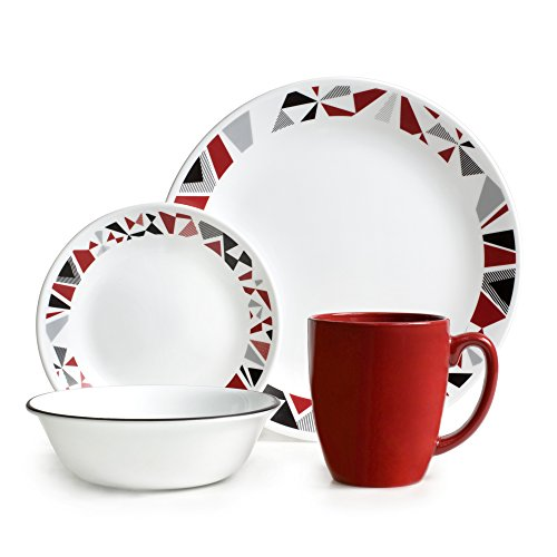 Corelle Vitrelle Glass Mosaic Chip and Break Resistant Dinner Set, Set of 16, Red/Grey/Black