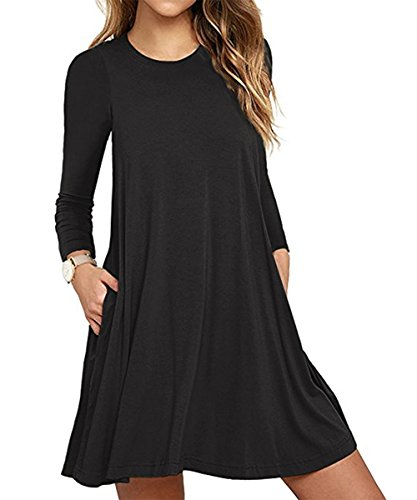 Damen Vintage Langarm Tasche Casual Loose Rock T-Shirt Kleid Black S (Rock Damen T-shirt)