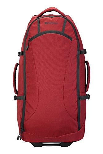 Mountain Warehouse Voyager Wheelie 50-l-Rucksack - Mehrere Taschen, strapazierfähiger Rucksack, Schulterriemen, Tagesrucksack mit Rädern - Für Reisen, Camping, Festivals, Frühling Rot