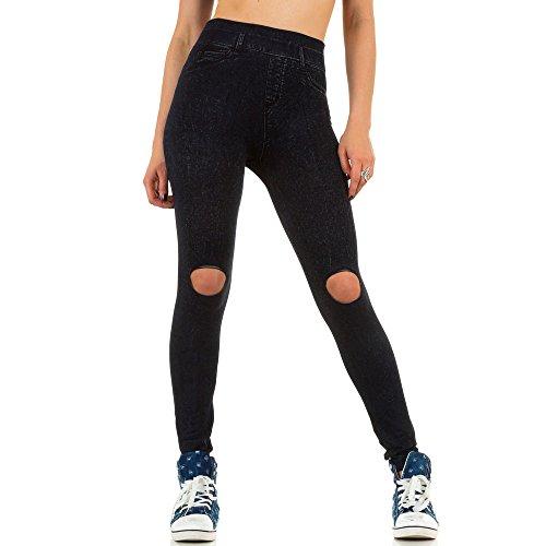 Damen Leggings Hose Slim Strumpfhose Pants Elastische High Waist Jeggings Blau ONE SIZE Blau