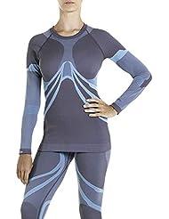 XAED, maglia da sci per strato base, da donna, colore grigio/blu chiaro, Taglia M, intimo termico donna