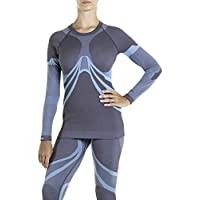 XAED Women's Ski Baselayer Tops, Grey/Light Blue, Medium