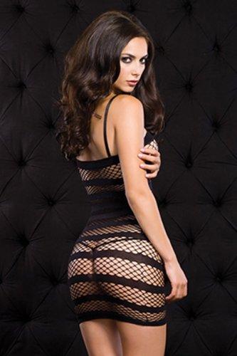 Spaghetti Strap Clubwear Kleid (Cindio sexy mysteriös Gogo Kleid Clubwear Netz-Minikleid mit Längsstreifen und Spaghetti-Trägern OS Leg Avenue. Größe: One Size (Einheitsgröße S-L))