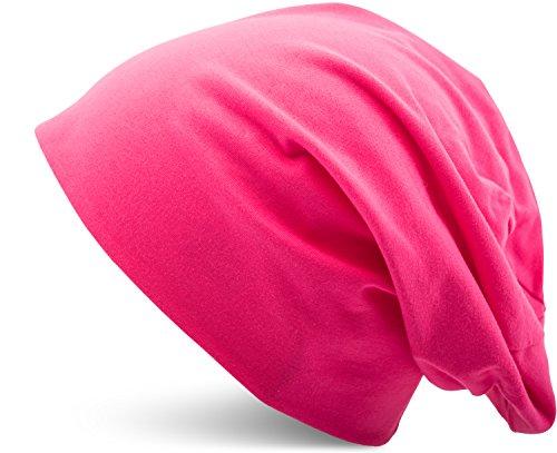 Jersey Baumwolle elastisches Long Slouch Beanie Unisex Mütze Heather in 35 verschiedenen Farben (3) (Pink) (Pink Jersey Fashion)