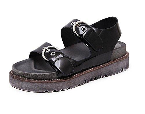 Sandálias De Verão Espessa Crosta Do Muffin Mulheres Negras Planas