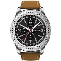 ZfgG Bluetooth Smart Watch Runde Multifunktions mit SIM-Kartensteckplatz Touchscreen Schritt Herzfrequenz für Android und IOS Männer Frauen Perfekter Wohnassistent (Farbe : Brown)