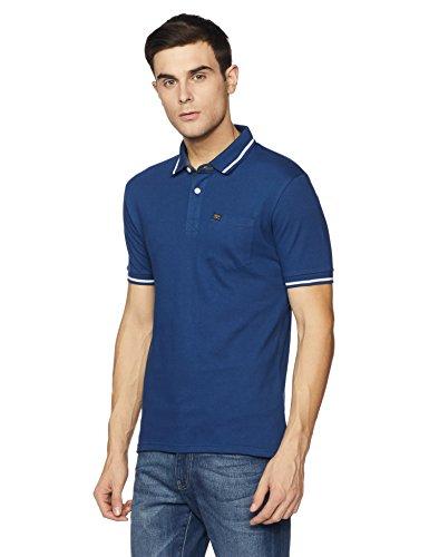 Symbol Men's Stylized Cotton Polo T-Shirt (AW17PLK66_M_Fox Blue)