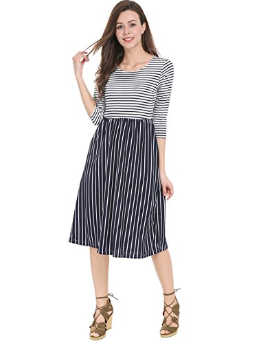 Allegra K Women's Contrast Striped 3/4 Sleeves Paneled Midi Flared Dress