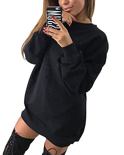 Minetom Donna Autunno Inverno Oversize Maglie a Manica Lunga Sportiva Camicetta Casual Camicia T Shirt Felpa Nero