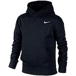 Nike Brushed Sweat-shirt à capuche Garçon , Noir/Blanc-M