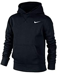 Nike Sweatshirt Young Athlete 76 Brushed Fleece Over The Head Sudadera con Capucha, niño, Negro/Blanco, XL