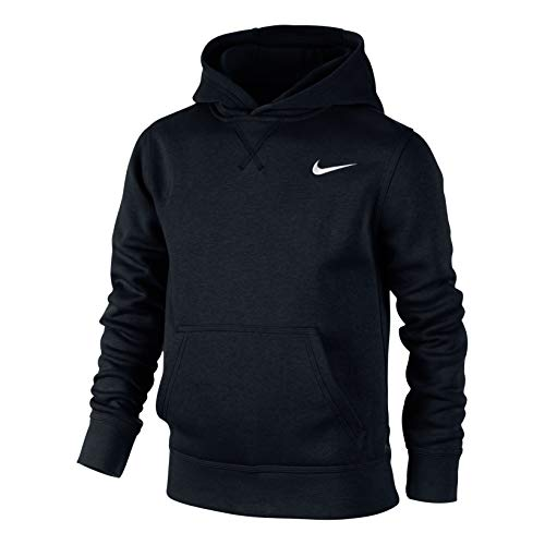 Nike Brushed Sweat-shirt à capuche Garçon ,  Noir/Blanc-M
