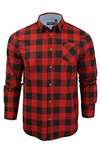 Brave soul - camicie casual - scacchi, quadretti - con colletto - manica lunga - uomo (rosso nero) xxl