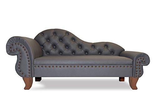 Edy Design Hundesofa Paris Recamiere Chesterfield XXL Hundebett Couch (Grau)