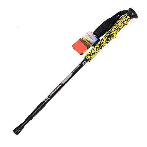 YHDQ Trekkingstock, superleicht für den Außenbereich Bunte Griffe Dreiteilige ultraleichte Skistöcke Krücken Länge: 66-135 cm-Yellow