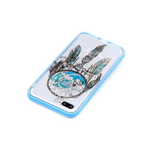 iPhone 8 Plus Coque, Voguecase 2 in 1 TPU + PC avec Absorption de Choc, Etui Silicone Souple Transparent, Légère / Ajustement Parfait Coque Shell Housse Cover pour Apple iPhone 8 Plus 5.5 (Jeune coupl Campanula bleu