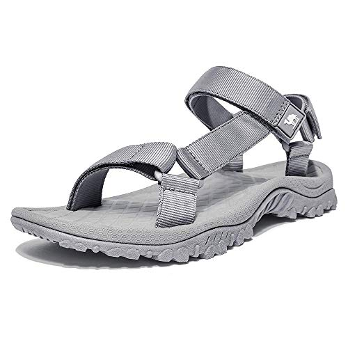 CAMEL CROWN Unisex Sandals Verstellbare Klettertrittsandalen Athletic Fisherman Hiking, Grau, Gr.- 44 EU/9 UK - Blau Fischer Sandalen