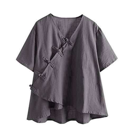 Overdose Damen Lose Retro T-Shirt V-Ausschnitt Einfarbig Crop Tops Casual Kurzarm Blusen Oberteile Tees