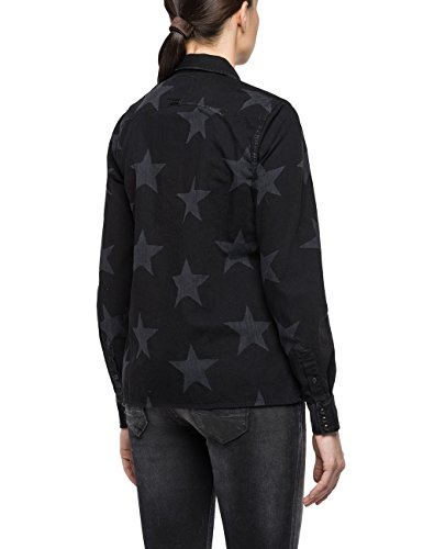 Replay Damen Hemd Schwarz (Black W. Print (Stars) 9)