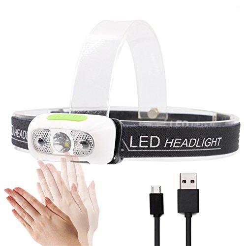 Schöne Stirnlampe famvis, VERBESSERTE Cree XP-G2 Technologie für viel MEHR LICHT als normale LED, mit BEWEGUNGSSENSOR, tolles Design, LEICHT, WIEDERAUFLADBAR - USB,WASSERDICHT,JOGGEN, CAMPING, WANDERN