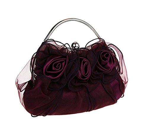 KAXIDY Satin Fleurs Sac Pochette Sacs de Soirée Partie Mariage Femmes Sacoches (Vin rouge) Violet