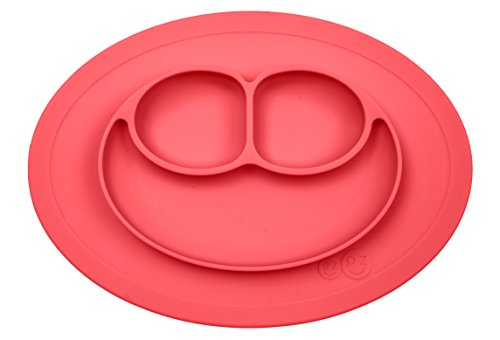 ezpz Mini Mat - One-piece silicone placemat + plate (Coral) by ezpz