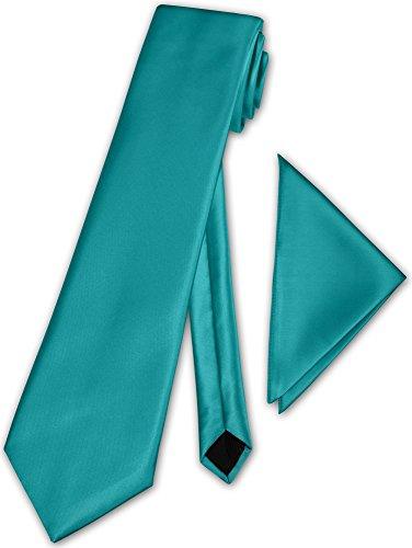 Herren Krawatte klassisch mit Einstecktuch Klassik Anzug Satinkrawatte - 30 Farben (Hell Petrol)