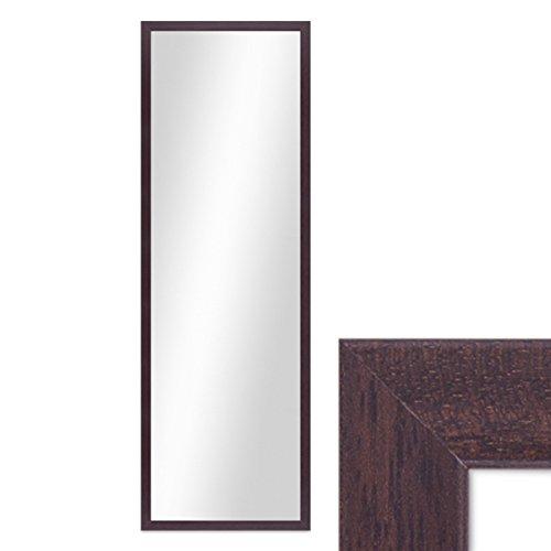 PHOTOLINI Wand-Spiegel 33x93 cm im Holzrahmen Nuss-Optik Dunkelbraun Modern/Spiegelfläche 30x90 cm