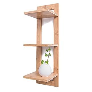 Estante de almacenamiento Bamboo Wall Shelves Bookshelf Decoración para el hogar Display Storage Rack CD Racks Small Flower Stand (Color : Blanco, Tamaño : 3 Capas)