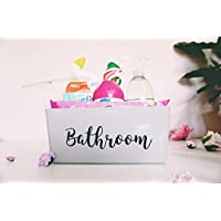 Personalised Bathroom Storage Box, Grey With Black Text, Mrs Hinch Inspired, Cleaning Caddy For Bathroom, Kitchen, Laundry And More