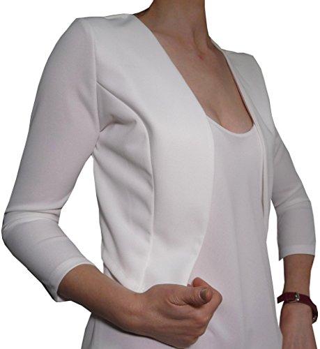 Coprispalle Elegante Cerimonia Blaser Bolero Copriabito Manica 3/4 Donna Ragazza Colorati (Taglia Unica Veste da 40 a 42, Bianco)