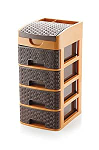 Sindhu Liza Multipurpose Plastic Drawer System Organizer Rack Home and Kitchen Extra Compart on top (4 Drawer)