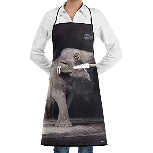 Full Kostüm Burst - dfgjfgjdfj Burst Elephant Schürze Lace Adult Mens Womens Chef Adjustable Polyester Long Full Black Cooking Kitchen Schürzes Bib with Pockets for Restaurant Baking Crafting Gardening BBQ Grill