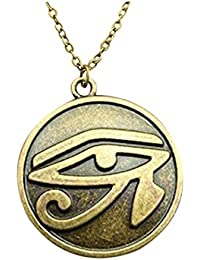 Vintage Antique Bronze Plated 27mm Ojo de Horus Ronda colgante collar