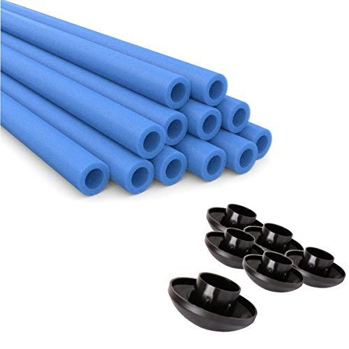 Ampel 24 Stangenschutz für Trampolin Netzpfosten und Endkappen, 12 Schaumrollen blau im Set mit 6 Abdeckkappen, Ersatzteile ausreichend für 6 Stangen