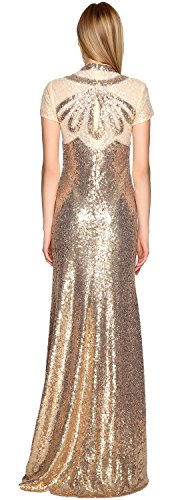 MACloth Illusion High Neck Sequin Prom Dress Short Sleeves Evening Formal Gown Light Gold