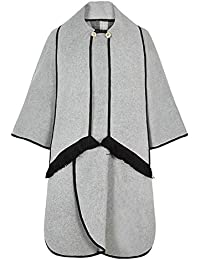 Kentex Online Womens Poncho Ladies Wool Blend Double Sided Reversible Check Cape