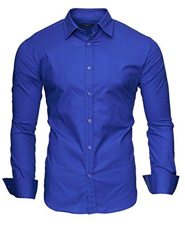 KAYHAN Uni Langarmhemd Slim Fit 20 Farben zur Auswahl S-3XL Blau