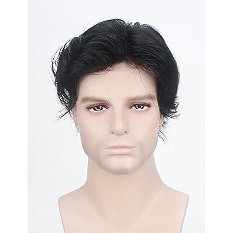 Lordhair 100% del reemplazo del pelo del cordón del pelo humano francesa Jet System Negro reemplazo del pelo # 1 de los hombres de color de pelo Tupé no quirúrgico