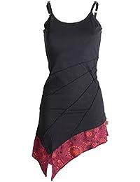 Vishes - Alternative Bekleidung – Asymmetrische Baumwolltunika – Minikleid mit Spagettiträgern