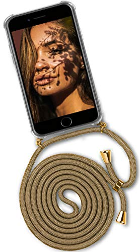 ONEFLOW® Handykette passend für iPhone 7 / iPhone 8 | Stylische Kordel Kette - Kristallklare Handyhülle mit Band zum Umhängen in Gold Beige