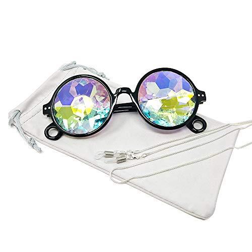 TERAISE Kaleidoskop Gläser Regenbogen Prisma Sonnenbrille Für Frauen Männer Rave Party Beugung Glas Kristall Linsen(Black)