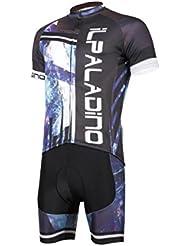 Hommes en vélo Tight Jersey Tops avec bavoir Shorts Polyester tissu respirant Anti-UV Short Sleeve Short Pant Set avec 3D Pad pour été Printemps Automne