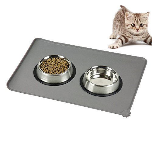 Tierfutter Fütterungsmatte für Katzen und Hunde Essen und Wasser Schüssel oder Dish, Silikon Boden Matte mit wasserdicht Anti-Rutsch Matte Farbe Grau -47*30cm