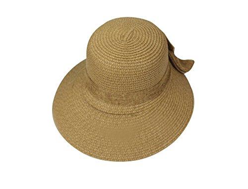 Leisial Damen Sonnenhut Fischerhut Flexible Sommer Hüte Strandhut mit Große Bowtie,Khaki -