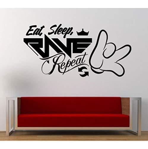 fkleber Vinyl Aufkleber Musik Zitat Essen Schlaf Rave Wiederholen Große Große Wohnkultur Wandbild 30X62Cm ()